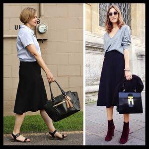 j. crew // a-line wool black midi skirt winter